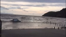 Stranded van rescued from sea on Somerset beach