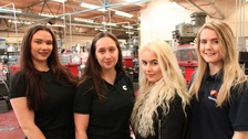 Danika Gilpin, Kerrie Brown, Chloe Reeves and Chloe Little, apprentices at  South West Durham Training.