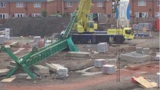 The scene of the crane collapse