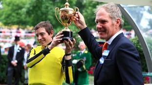 Jockey James Doyle celebrates winning the Gold Cup on board 'Big Orange' on Thursday.