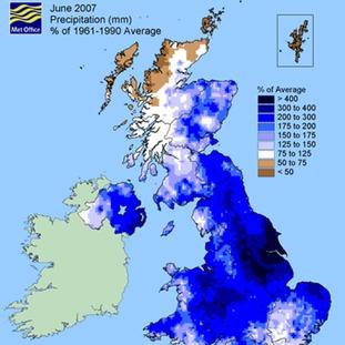 June 2007 per cent of average rainfall map