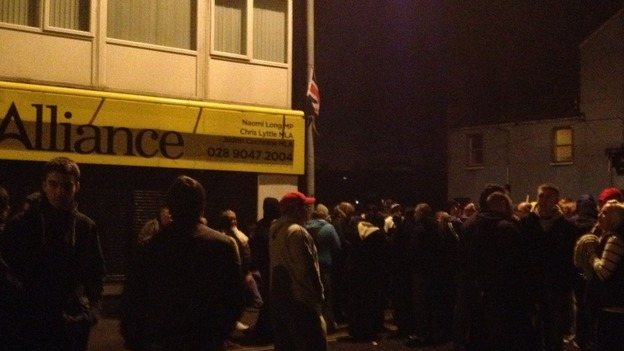 Protest outside MLA Naomi Long&#x27;s office Newtownards