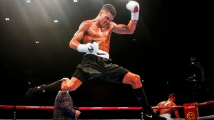 Anthony Ogogo celebrates beating Gary Cooper in their Middleweight contest at the SSE Hydro, Glasgow.