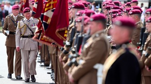 Prince Charles marks 40 years as Colonel-in-Chief of the Parachute Regiment by inspecting the troops in Colchester.