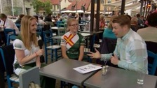 Megan Dowinton and Emily Trebert with Sports Reporter Rob Jones in Gotland