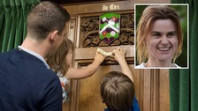 Jo Cox's children unveil memorial plaque in her honour