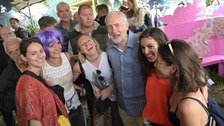 In Pictures: Jeremy Corbyn speaks to fans at Glastonbury
