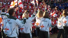 Jersey and Guernsey at the opening ceremony in Gotland.
