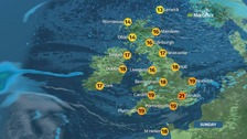 Weather: Sun and showers after cloudy start to Sunday