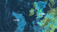 Low pressure takes hold by Tuesday