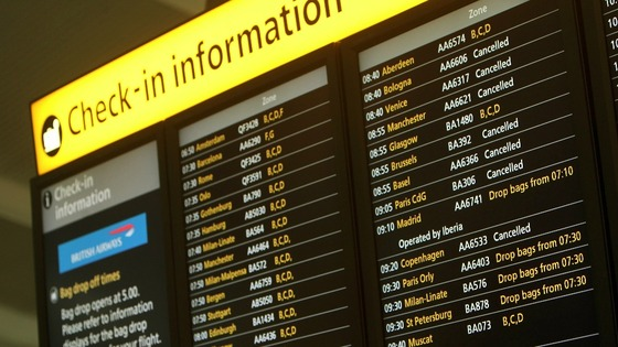 An information board at Terminal 5 of Heathrow