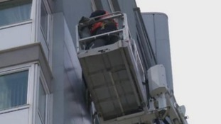 Workers removing cladding from Sunderland flats