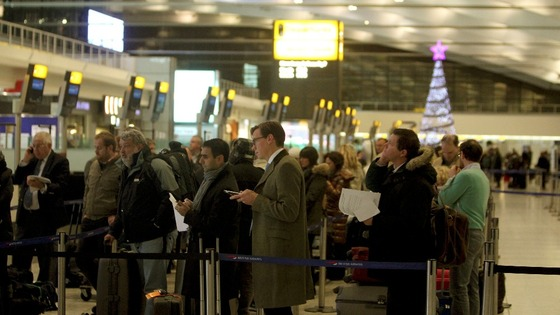 Passengers prepare to depart from Terminal 5 at Heathrow