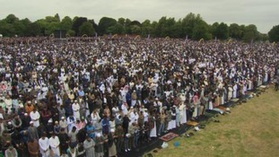 Record numbers of people are attending Europe's largest Eid celebration in Birmingham today.