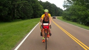 Bill is cycling 2,600 miles across America.