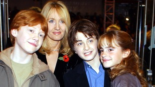 The author with the stars of the Harry Potter films at the first premiere in 2001.