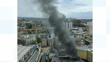 Huge fire near Greyfriars Road in Cardiff 'under control'