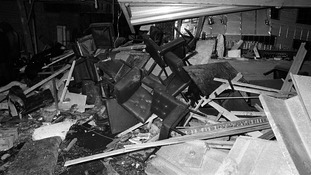 The wreckage inside the pub in Ballykelly following the bomb blast