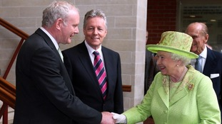 The Queen shaking hands in June with Northern Ireland Deputy First Minister Martin McGuinness