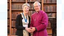 Anne Harrison with the Archbishop of Canterbury