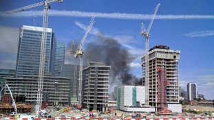Smoke seen for miles from Rainham and Canary Wharf fires.