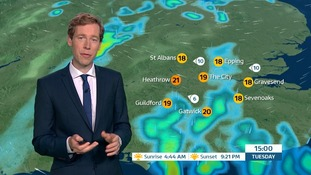 Weather: Most places dry overnight with showery rain tomorrow.