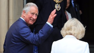 Prince Charles and the Duchess of Cornwall arrive at Manchester town hall.