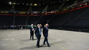 The Prince of Wales is given a tour of Manchester Arena