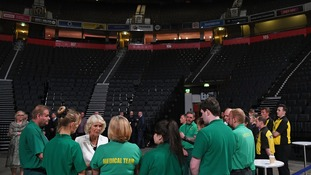The Duchess of Cornwall speaks to staff who worked on the night of the bombing.