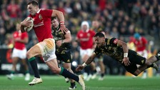 George North breaks through to score his side's second try.