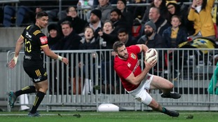 British and Irish Lions' Tommy Seymour scores his side's third try.