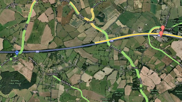 The blue arrow is where the lorry is, the red arrow is Corley Services