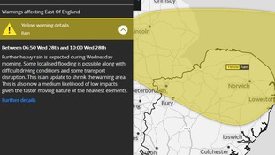 The area covered by the yellow weather warning for rain.