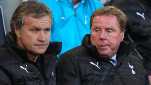 Harry Redknapp (right) with assistant manager Kevin Bond (left) at Tottenham Hotspur
