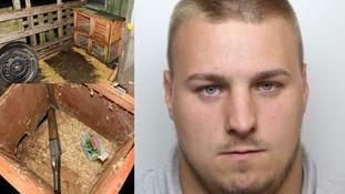 Man jailed after sawn-off shotgun found in rabbit hutch