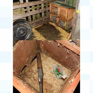 The shotgun was found in a rabbit hutch