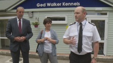 Chief Constable Craig Guildford paying tribute to dog handler PC Ged Walker at the newly refurbished kennels in Arnold.