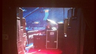A behind-the-scenes view of the 12-12-12 setup at Madison Square Gardens