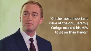 Outgoing Lib Dem leader Tim Farron, whose MPs all backed the amendment, criticised Labour's leader.
