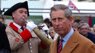 The Prince of Wales is welcomed to Ripon Market Square by the historic Ripon Hornblower.