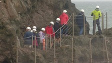 A group of visitors touring the Gobbins Cliff Path on Friday.