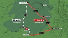 Traffic travelling between the north and south of the county will have to make one of the UK's longest ever diversions.