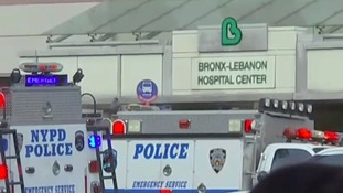 NYPD vehicles surrounded the entrances of the Bronx hospital.