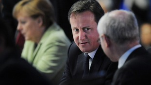 David Cameron chats with EU President Herman Van Rumpuy at the G20 summit in June