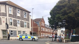 Weston-super-Mare town centre scene of 'unstable chemical' incident