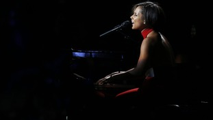 "Alicia Keys performs during the ""12-12-12"""