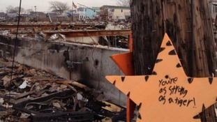 A message of hope is left in Breezy Point which was devastated by the super storm