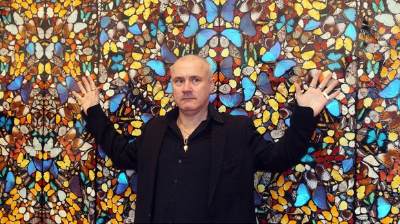 Artist Damien Hirst with 'Doorways to the Kingdom of Heaven 2007'.
