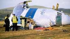 Aftermath of Pan Am Flight 103 plane crash in the Scottish town of Lockerbie