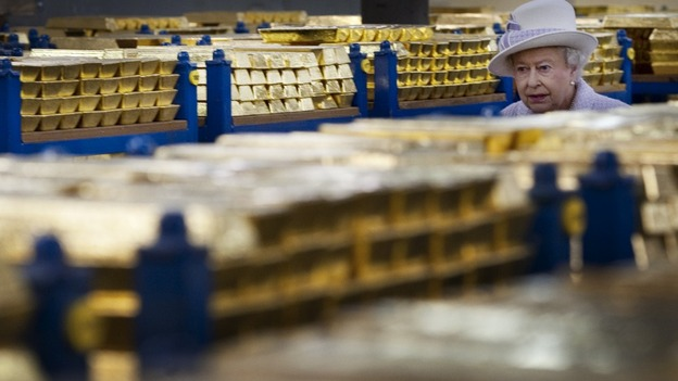 It is a rare glimpse inside the vault in the City of London - the gold bars weigh thousands of tonnes